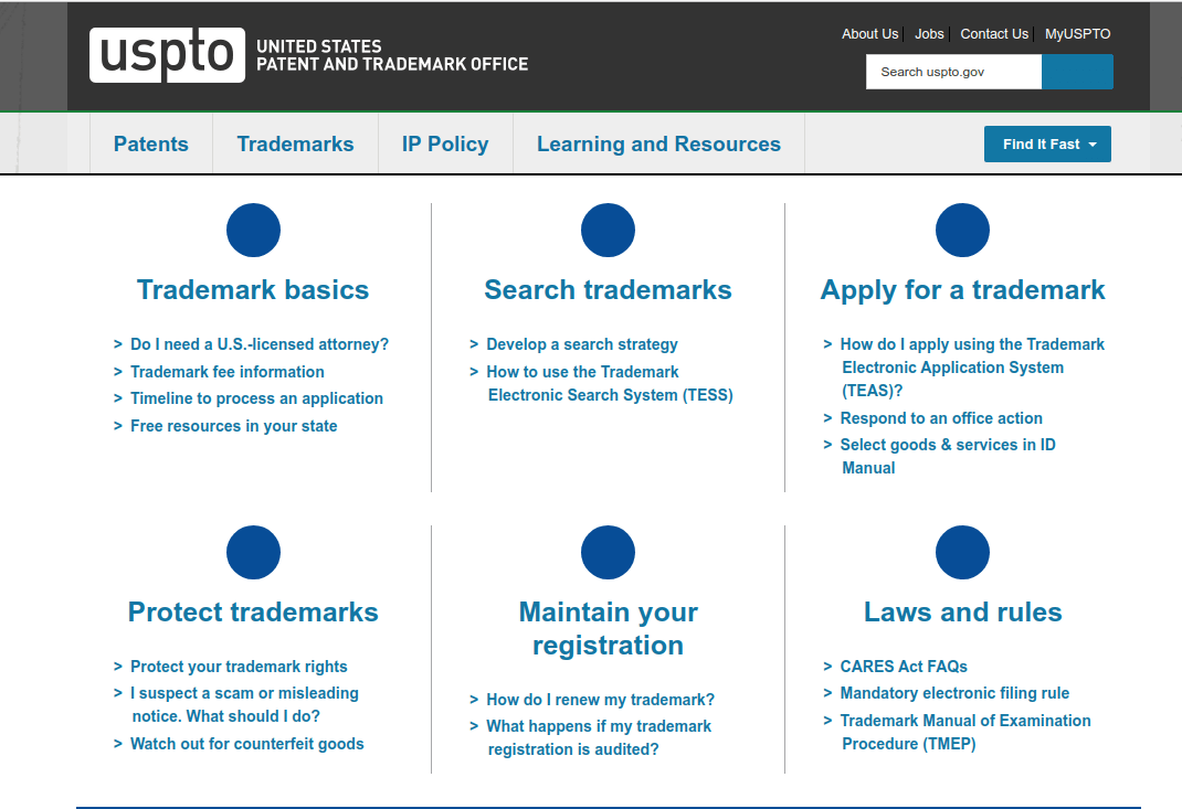 USPTO website to check a trademark for anything even logo